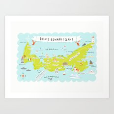 map of PEI Art Print