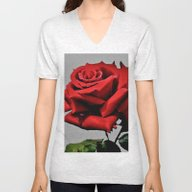 Unisex V-Neck featuring Red Rose by Costa
