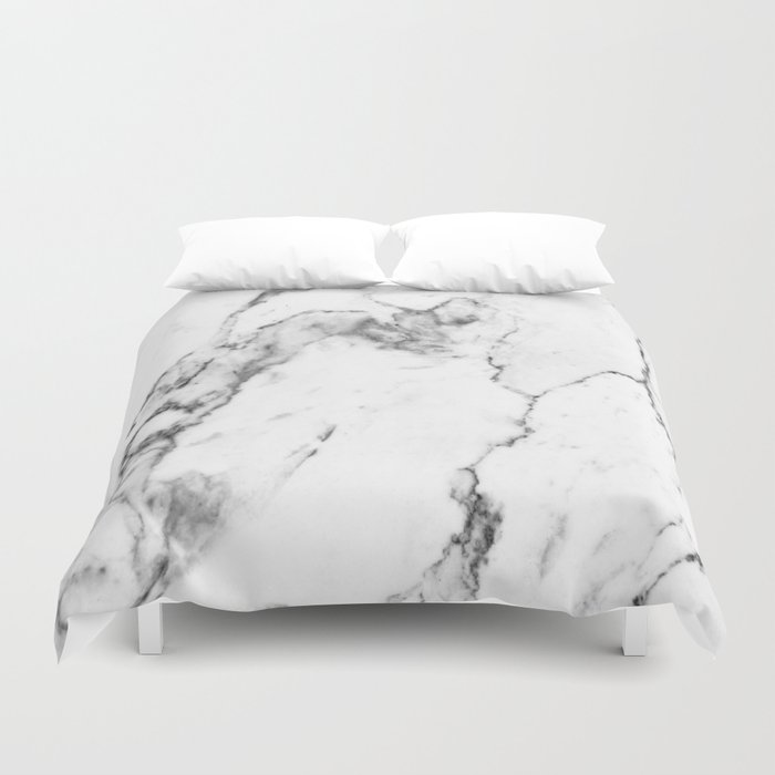 White Marble I Duvet Cover By The Aestate Society6