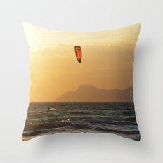 kite surfer in the mediterranean Throw Pillow