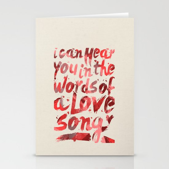 words of a love song Stationery Card