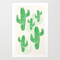 Linocut Cacti Green Art Print