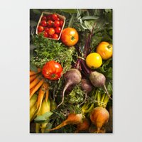Mixed Organic Vegetables With Tomatoes Beets & Carrots Canvas Print