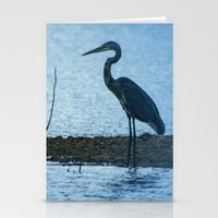 Great Blue Heron Fishing Stationery Cards