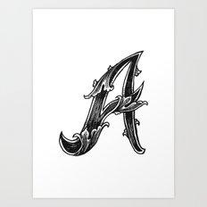 Leaf Script A Art Print