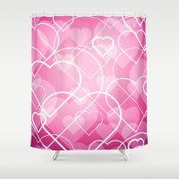 Hard Line Heart Bokeh Shower Curtain