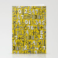 math doodle yellow Stationery Cards
