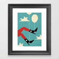 Framed Art Print featuring Ten Thousand Feet Up by Yetiland