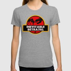 Jurassic Betrayal Womens Fitted Tee Tri-Grey SMALL