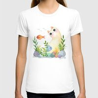 The Aquarium Cat Womens Fitted Tee White SMALL