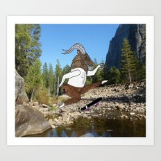 Baphomet's sixth failed attempt over a creek in Yosemite, which resulted in him focusing his board. Art Print