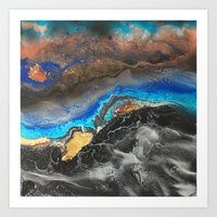 Storm Brewing - Fluid art on canvas Art Print
