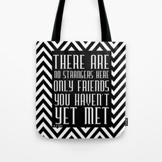 Zigzag pattern black (friendship quote) Tote Bag