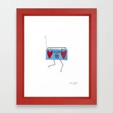 Boombox With Hearts Framed Art Print