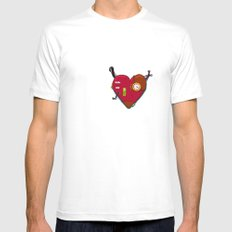 Robot Heart Mens Fitted Tee SMALL White