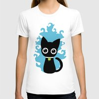 Lucky Cat Womens Fitted Tee White SMALL