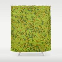 Shower Curtain featuring Sixties Swirl by Chelsea Densmore
