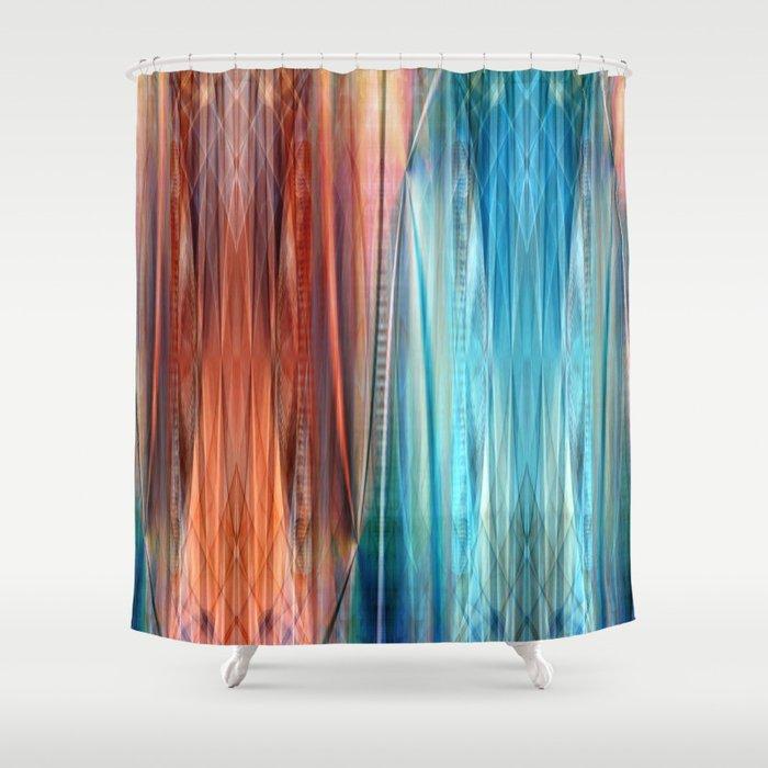 pattern orange and blue shower curtain by christine baessler society6. Black Bedroom Furniture Sets. Home Design Ideas
