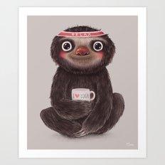 Sloth I♥yoga Art Print