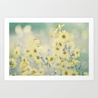 Pastel Wildflowers Yellow Helianthus Daisies -- Botanical Landscape Art Print