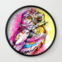 Neon Northern Pygmy Owl Wall Clock