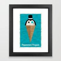 Peppermint Penguin Framed Art Print