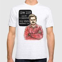 Ron Swanson Mens Fitted Tee Ash Grey SMALL