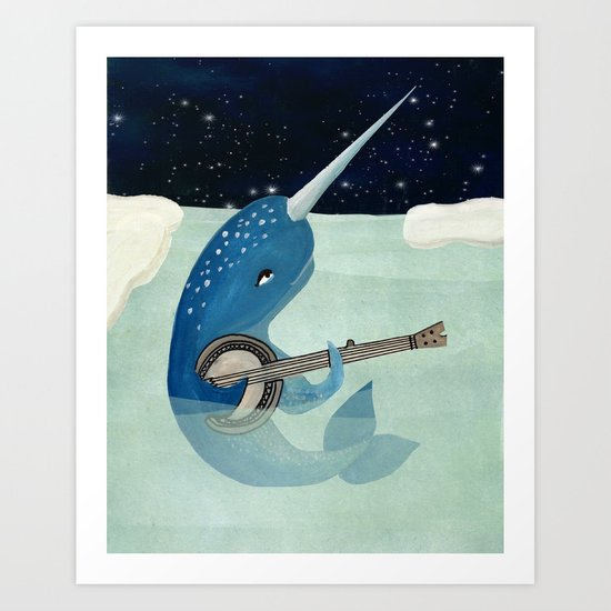narwhal 39 s aquarelle narwhal plays banjo art print by prelude posters society6. Black Bedroom Furniture Sets. Home Design Ideas