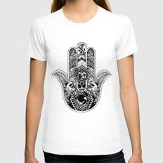 Hamsa Hand Pug Womens Fitted Tee White SMALL