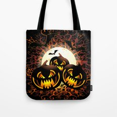 Black Pumpkins Halloween Night Tote Bag