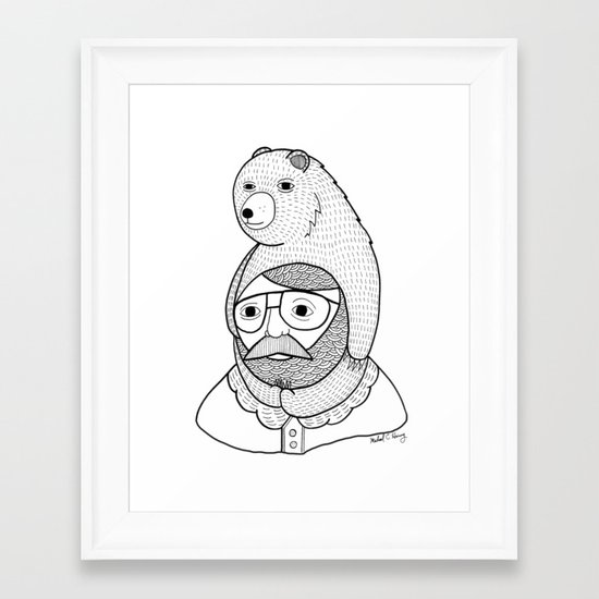 On how baby bears are often used as winter hats Framed Art Print