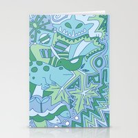 Abstract Animals - Blue … Stationery Cards