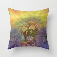 Lion Gator Space Moon Ri… Throw Pillow
