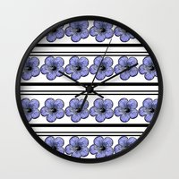 Flowers And Stripes Wall Clock