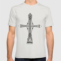 cross-aqua Mens Fitted Tee Silver SMALL