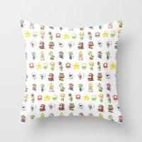 Mario Characters Waterco… Throw Pillow