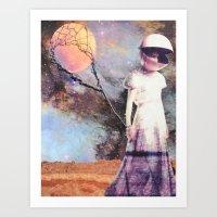 Moon Balloon (Softer) Art Print