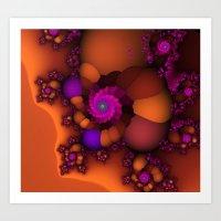 Purple and Orange Fractal 4 Art Print