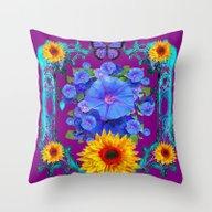 Purple-Blue Butterfly Su… Throw Pillow