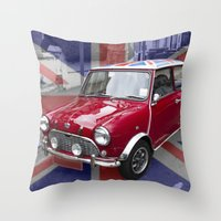 British Classic Mini car Throw Pillow