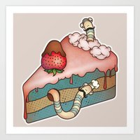 SWEET WORMS 3 - Strawber… Art Print