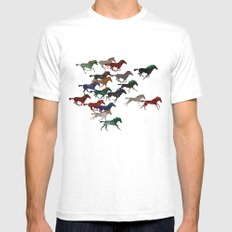 Horse Stampede SMALL Mens Fitted Tee White
