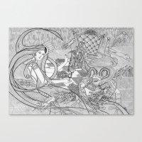 Chess Game / Original A4 Illustration / Pen & Ink Canvas Print