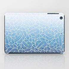 Ombre blue and white swirls doodles iPad Case