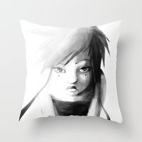 Grey Japanita Throw Pillow