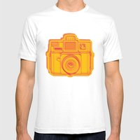 I Still Shoot Film Holga Logo - Reversed Yellow & Red Mens Fitted Tee White SMALL