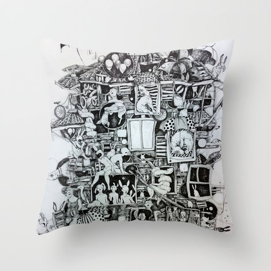 Waiting home Throw Pillow