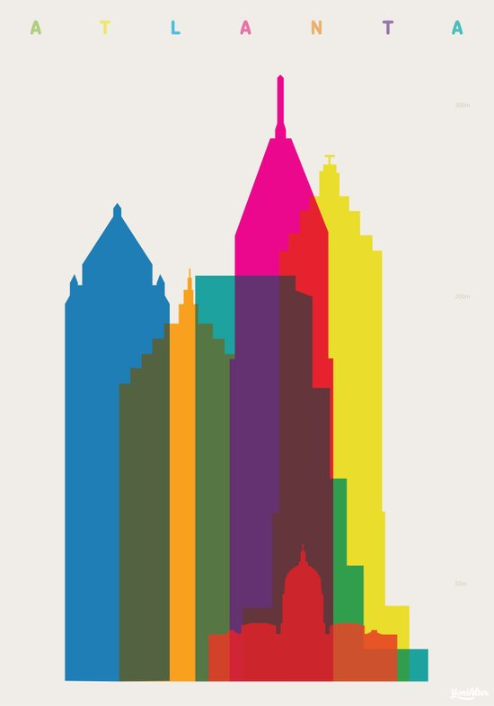 Shapes of Atlanta. Accurate to scale Art Print