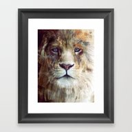 Framed Art Print featuring Lion // Majesty by Amy Hamilton