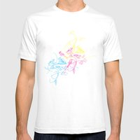 Birds Doodle In Cmyk Mens Fitted Tee White SMALL